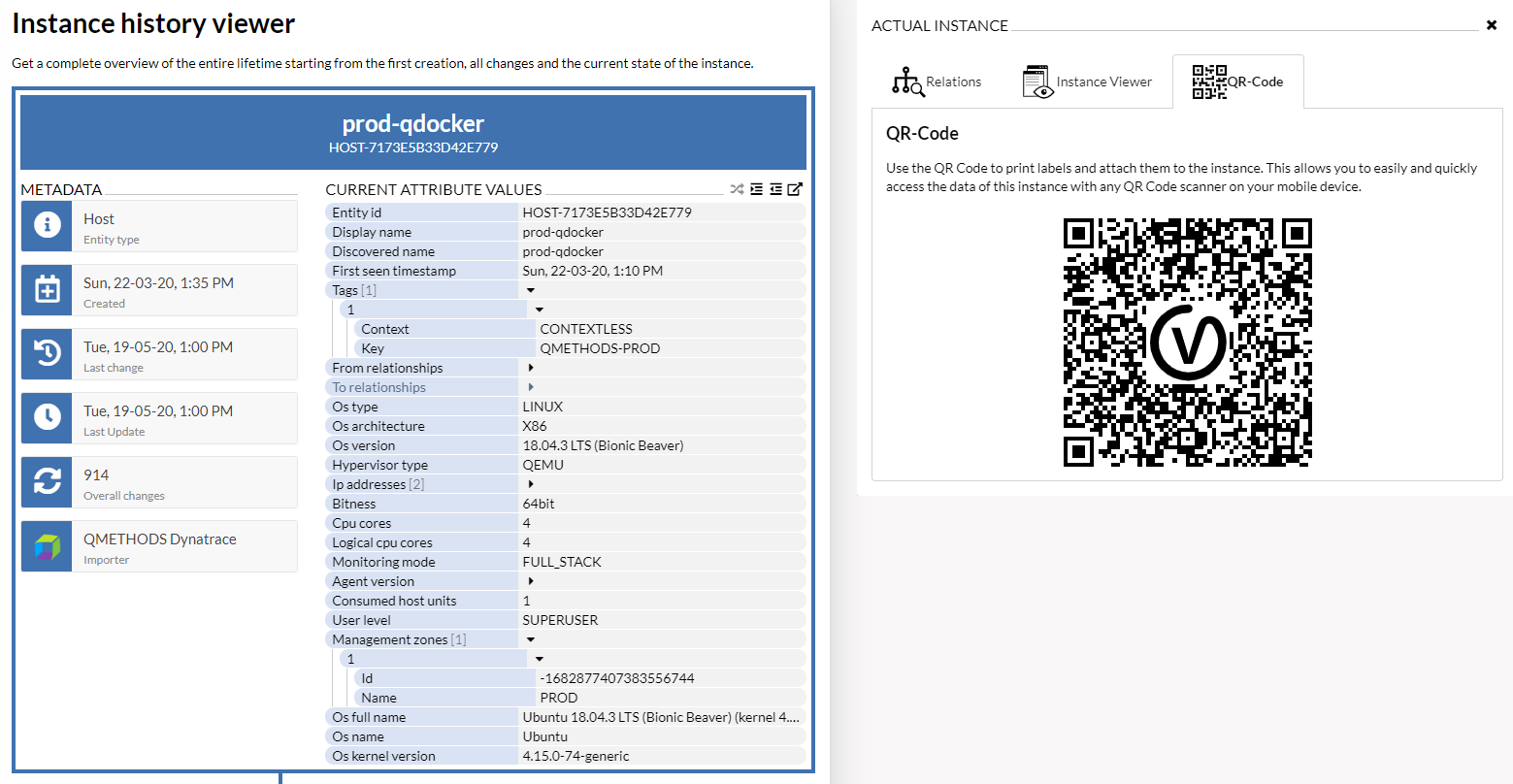 Automated provision of QR Codes for each individual data instance