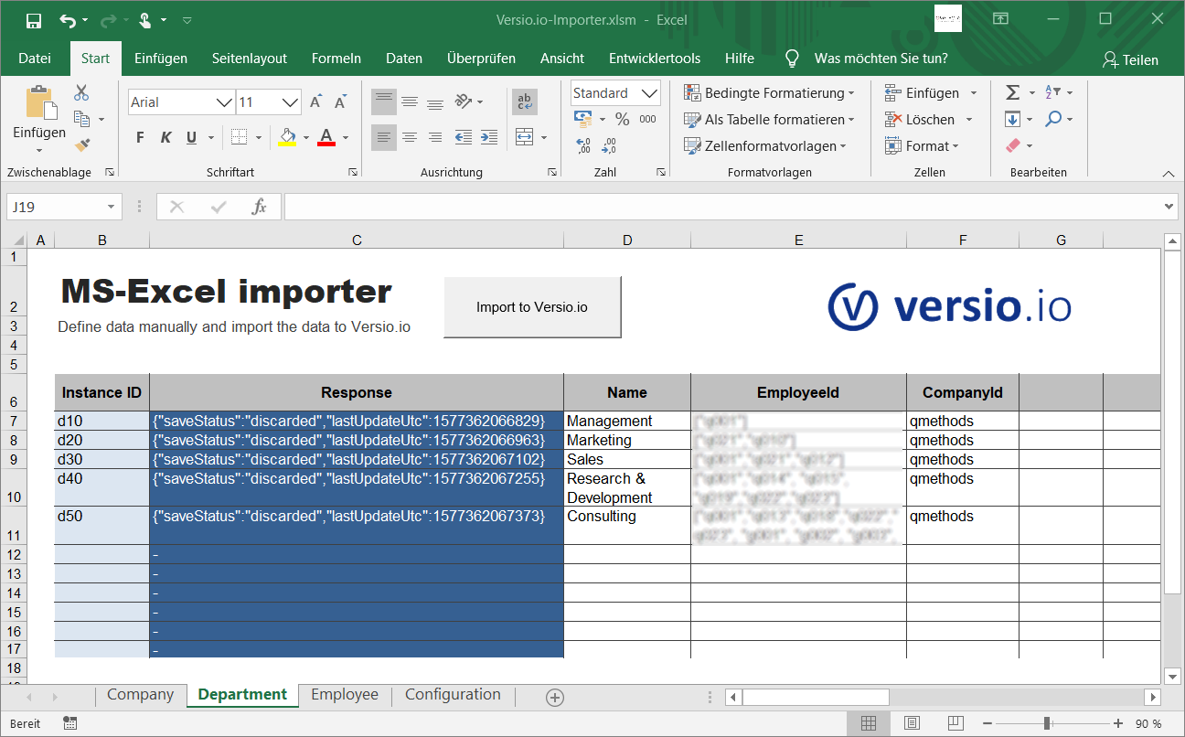 MS Excel template