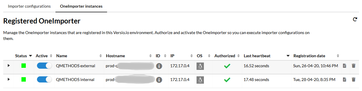 Central and secure management of OneImporter instances